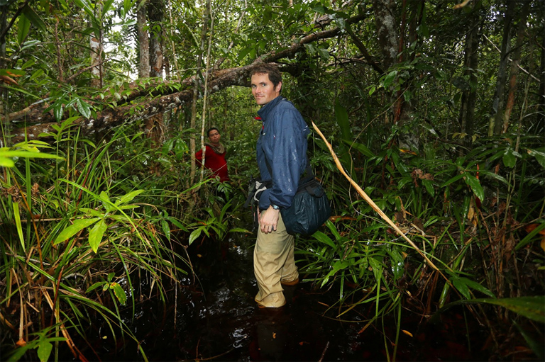 Rhett Butler in a peat swamp in Central Kalimantan, Indonesian Borneo