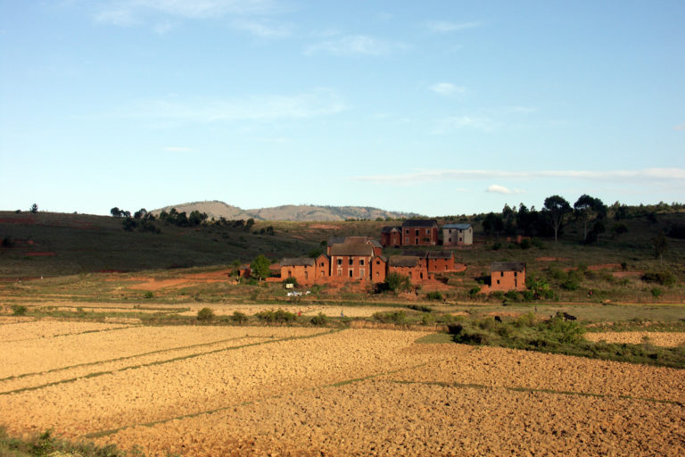 Red brick houses in the highlands of Madagascar (RN7)