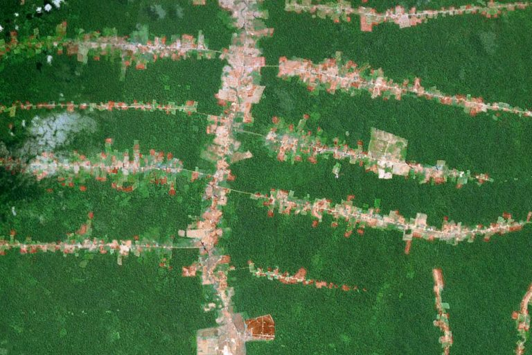 NASA satellite image showing deforestation in the Brazilian Amazon.
