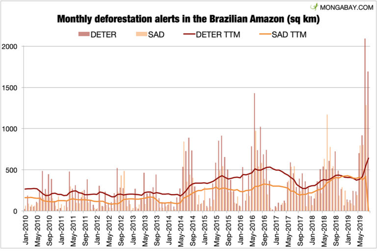 Monthly deforestation alerts in the Brazilian Amazon. Last updated 9/8/19