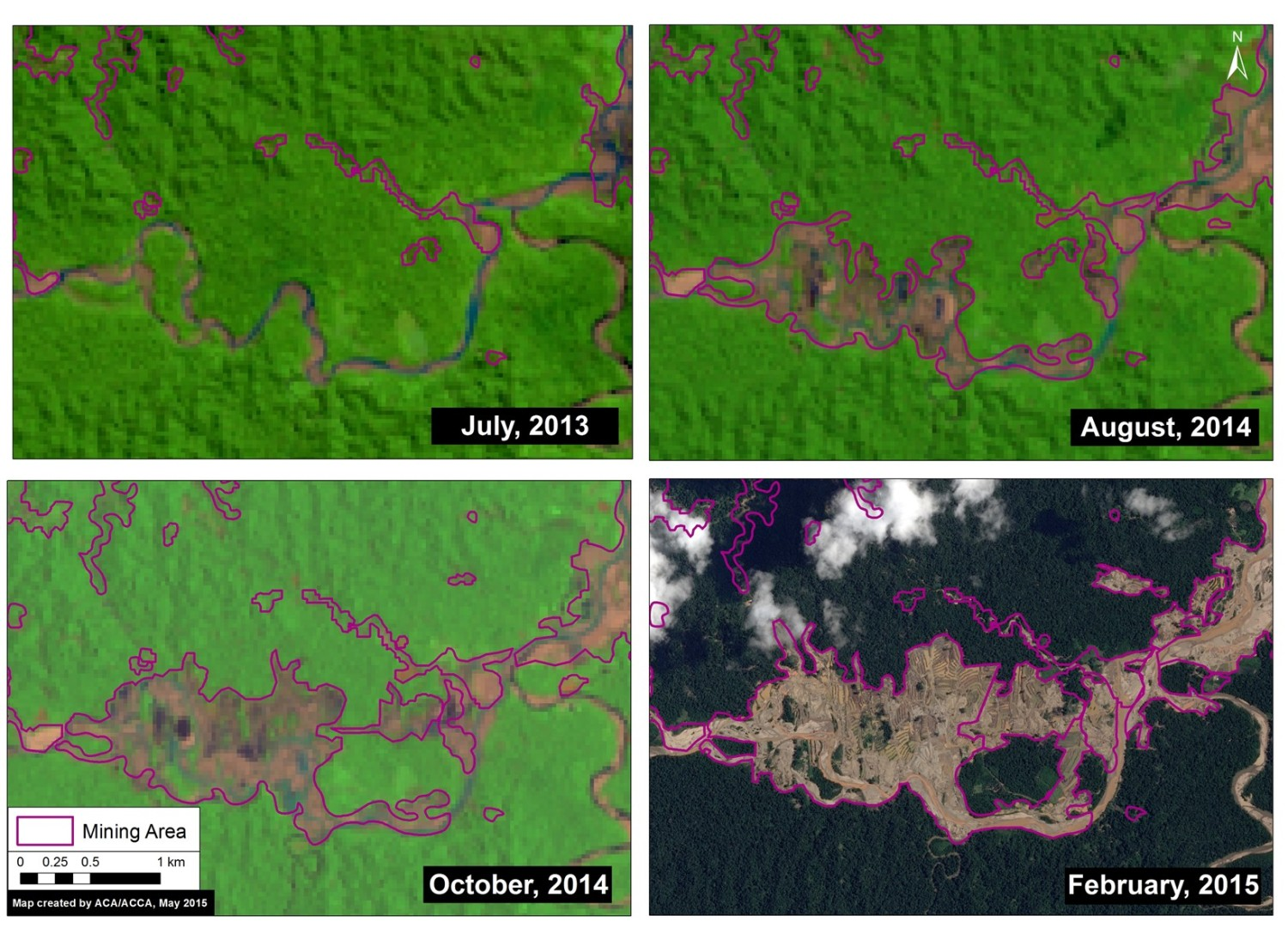 Satellite image time-series (2013 – 2015) of deforestation along the Upper Malinowski. Note that all four panels in Image 5d show the same location. Key data sources: USGS, SPOT 7.