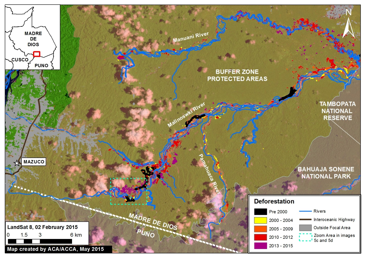 Expanding deforestation from illegal gold mining along the Upper Malinowski River. Key data sources: MINAM, SERNANP, ACCA, USGS, IBC, Hansen/UMD/Google/USGS/NASA.
