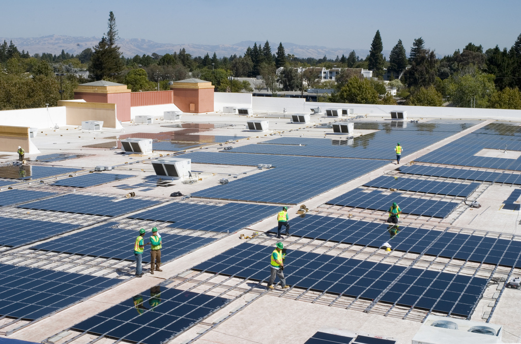 Solar panels on the Mountain View, California Walmart. Photo courtesy of  Walmart via flickr licensed under Creative Commons 2.0.