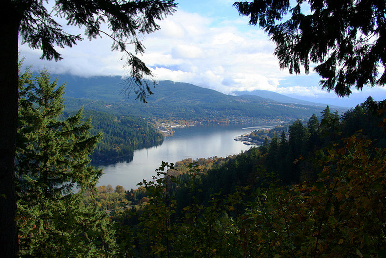 A view from Burnaby Mountain, near Vancouver, British Columbia. Plans for an oil pipeline and expanded oil tank facility on the mountain, a protected park, sparked protests and opposition. Photo credit: jan zeschky.