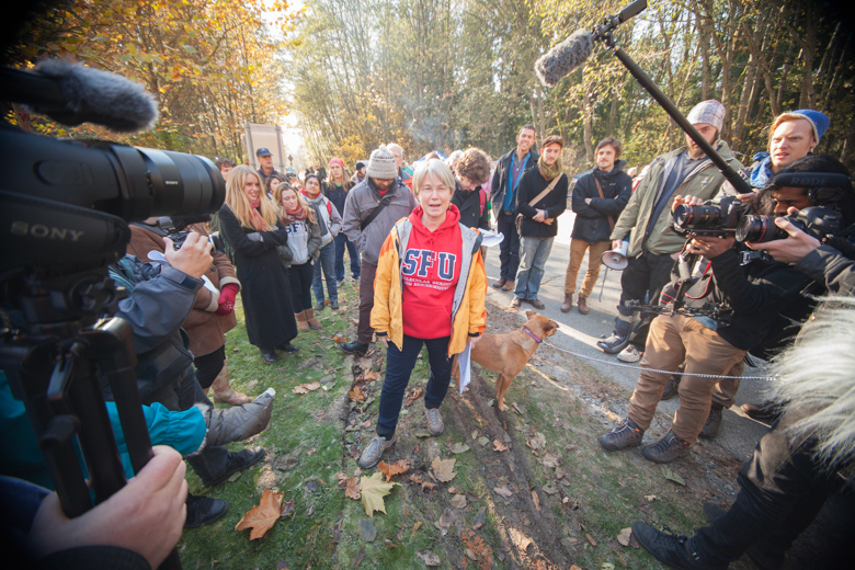 Lynne Quarmby, a microbiologist at Simon Fraser University, talks to media at a protest against a pipeline at the Burnaby Conservation Area in 2014. Photo credit: Mychaylo Prystupa.