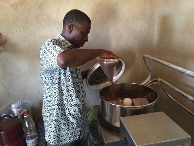 David Logbo makes chocolate in his factory in Depa, Cote d'Ivoire