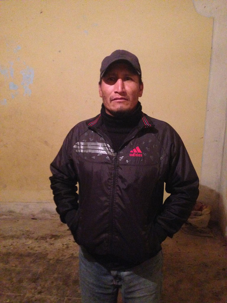 Eduar Rodas, a leader of the Cajamarca campesinos. He has been arrested several times, and has 100 complaints and 12 lawsuits against him, many due to his organization's legal actions conducted against dam construction and mining multinational companies. Photo credit: Verónica Goyzueta.