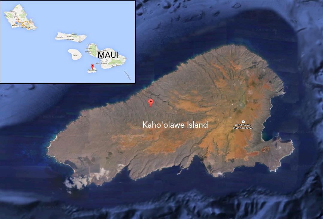 Google Maps / Google Earth map of Kaho'olawe Island off Maui