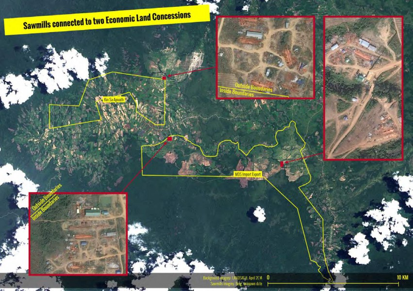 Sawmills within two ELCs in Phnom Samkos Wildlife Sanctuary in southwest Cambodia. Image courtesy of Forest Trends.
