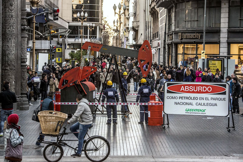 An urban protest against the proposed drilling activities in Calilegua National Park. Photo courtesy  of Greenpeace.