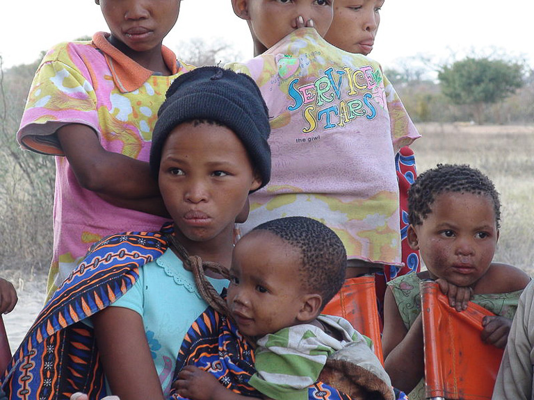 Daughters of a small group of San living in Namibia. Photo credit: Nicolas M. Perrault.
