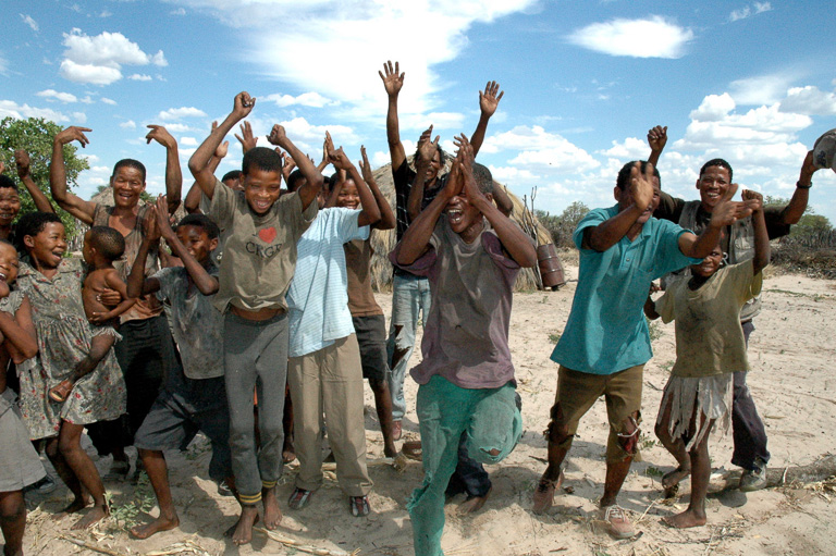 San men celebrate a victory in a court case against the Botswana government in December 2006. Photo credit: © Survival International.