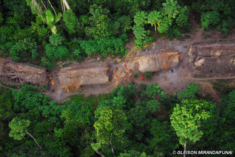 Uncontacted tribe in the Amazon photographed by  authorities with the Brazilian Indian affairs agency FUNAI in 2008. Photo by Gleison Miranda-FUNAI.