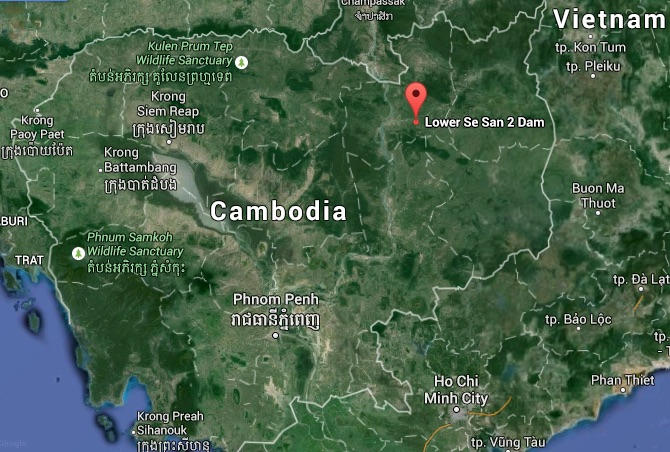 Map of Cambodia shows the site of the Lower Sesan 2 dam, now under construction. Map credit: Google Maps.