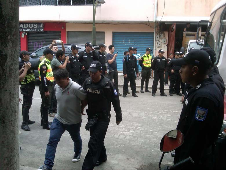 Wilson Enqueri, president of the Waorani Indian community of Bataboro, being arrested in El Coca in January 2015. Photo credit: Human Rights Commission of Orellana.