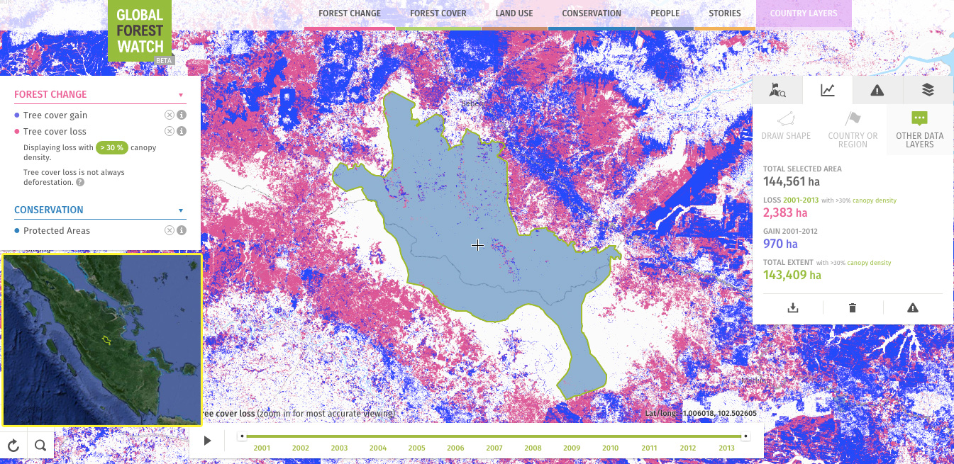 Global Forest Watch image showing forest loss and gain in and around Bukit Tigapuluh between 2000-2013. Courtesy of World Resources Institute.