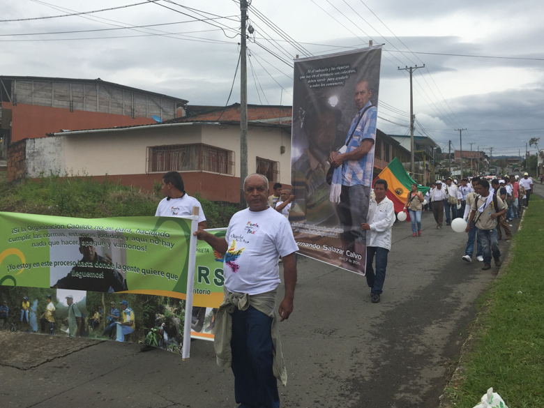 On April 11, protesters angry over Salazar Calvo's death, many of them indigenous miners, march through the streets of Riosucio. Photo credit: Viviane Weitzner / Forest Peoples Programme.