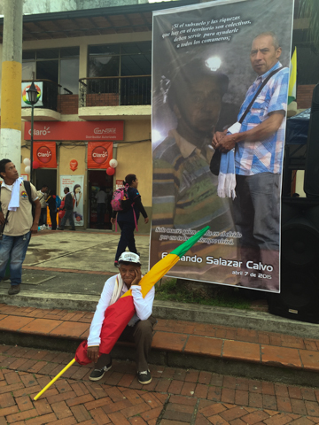 A banner bearing Salazar Calvo's likeness hangs in Riosucio, a municipality that overlaps with the Cañamomo Lomaprieta Indigenous Reservation, on April 11, the date of a protest over Salazar Calvo's murder. Photo credit: Viviane Weitzner / Forest Peoples Programme.