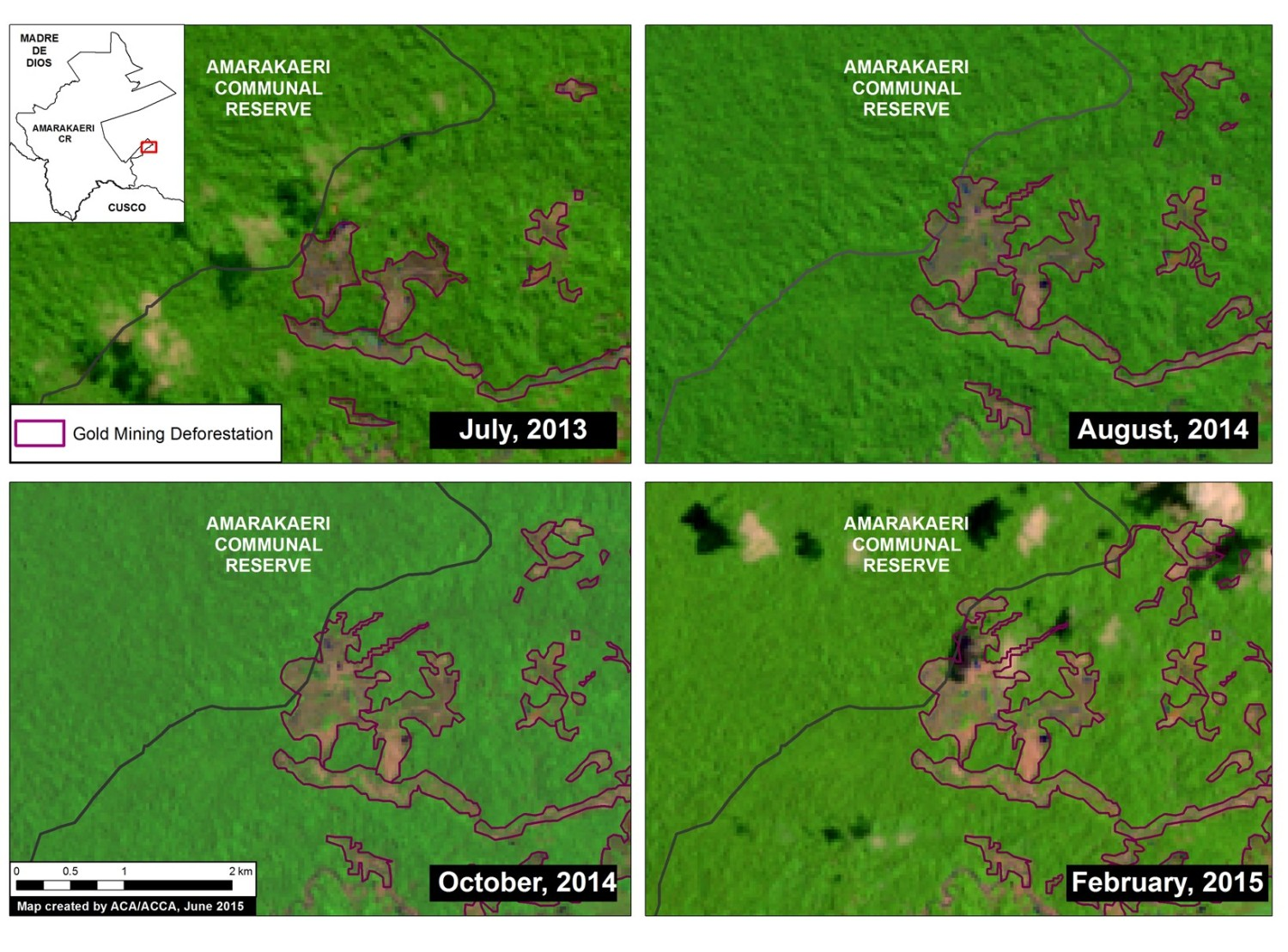 Satellite (Landsat 8) image time-series (2013 – 2015) of deforestation within the southeast section of the Amarakaeri Communal Reserve. Note that all four panels show the same location over time. Key data sources: USGS, SERNANP.