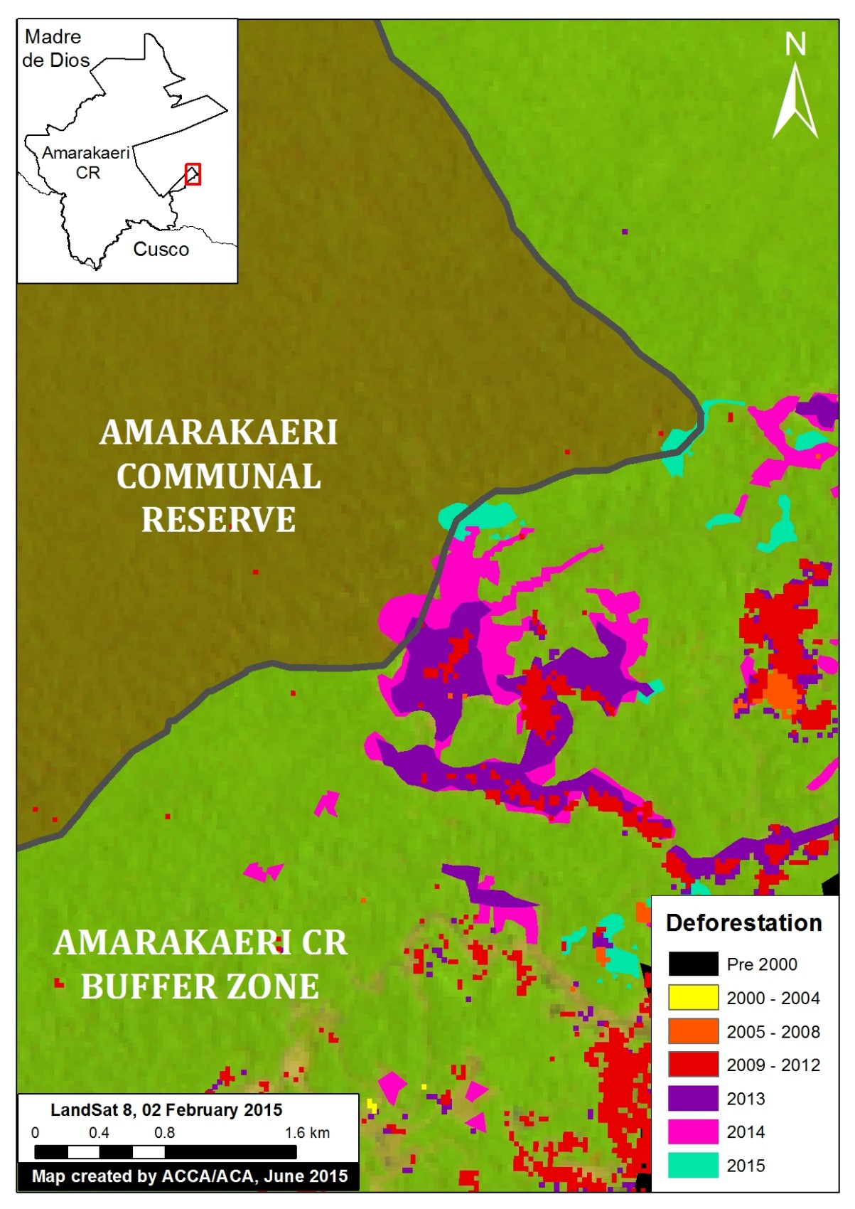 An enhanced view of the deforestation within the southeast section of Amarakaeri Communal Reserve and its surrounding buffer zone. Key data sources: MINAM, SERNANP, ACCA, Hansen/UMD/Google/USGS/NASA, USGS.