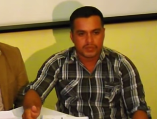 Teacher and municipal councilor-elect Rigoberto Lima Choc denounces the mass fish die-off on the La Pasión River at a press conference on June 17. He was fatally shot September 18. Video still courtesy of Marcha Indígena/YouTube.