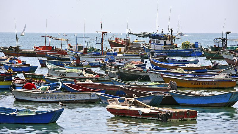 "Peruvian fishing boats in harbor. There is ongoing tension between the legal regulated fishing fleet and the illegal unregulated ""artisanal"" fleet. Photo by Alex Proimos licensed under the Creative Commons Attribution 2.0 Generic license."