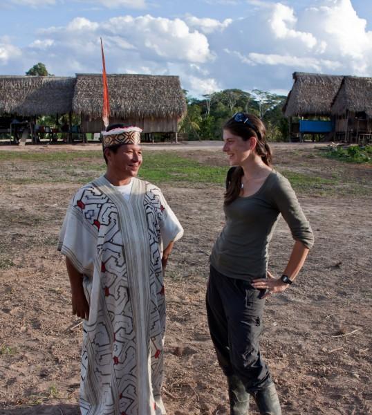 Dablin converses with a local man from the Santa Teresa community, Las Piedras in Madre de Dios, Peru. Photo by Matt Champoux.