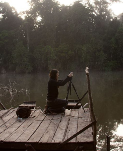 Up at dawn, Dablin shoots footage for Relevant Films at Soledad Lake, Las Piedras in Madre de Dios, Peru. Photo by Matt Champoux.