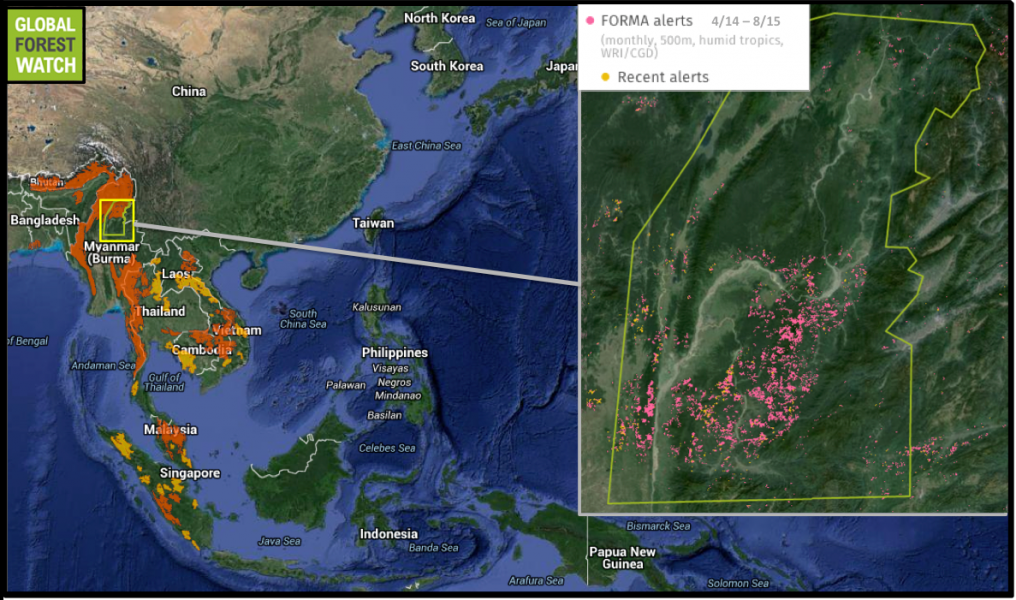 Myanmar's timber export ban was implemented in April 2014. However, tree cover loss seems to have accelerated in the region since then. According to Global Forest Watch, 7,813 FORMA alerts occurred in the region between April 2015 and August 2015, whereas 3,920 alerts occurred in the same timespan immediately before the ban. FORMA detects areas where tree cover loss is likely to have recently occurred.