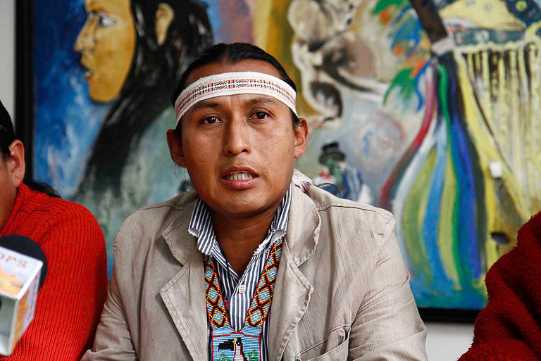 Severino Sharupi is the territory and natural resources coordinator for the Confederation of Indigenous Nationalities of Ecuador (CONAIE), a group helping to organize recent protests. Photo by Micaela Ayala / Agencia de Noticias ANDES.
