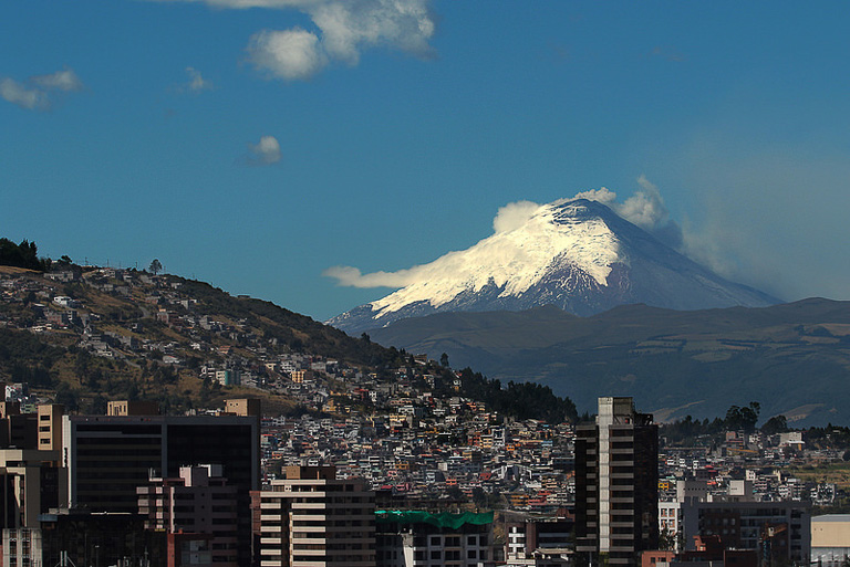 The Cotopaxi volcano's increased eruptive activity was the government's justification for declaring a state of exception on August 15. The state of exception covers the entire national territory of Ecuador, mobilizing the armed forces, and granting security officials the power to suspend certain rights, such as the freedoms of assembly and transit. Photo by Carlos Rodríguez / Agencia de Noticias ANDES.