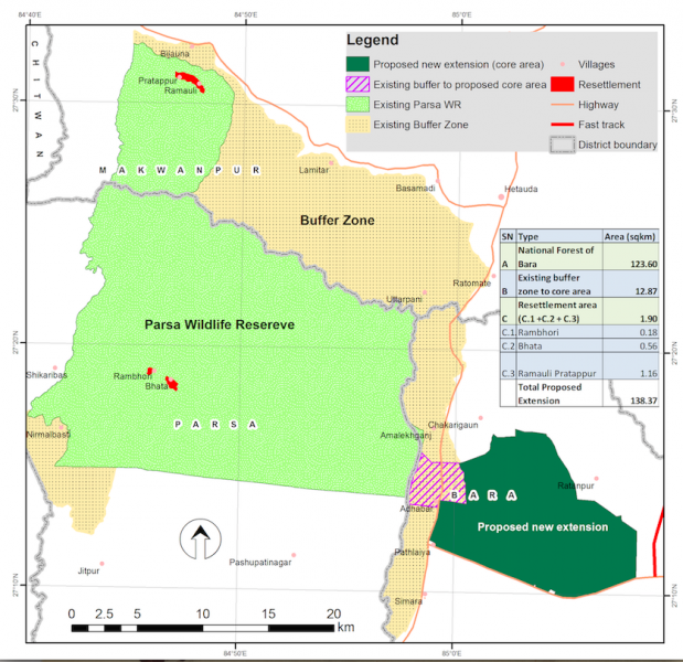 Map of Parsa Wildlife Refuge showing the new addition of Bara Forest. Image courtesy of ZSL.