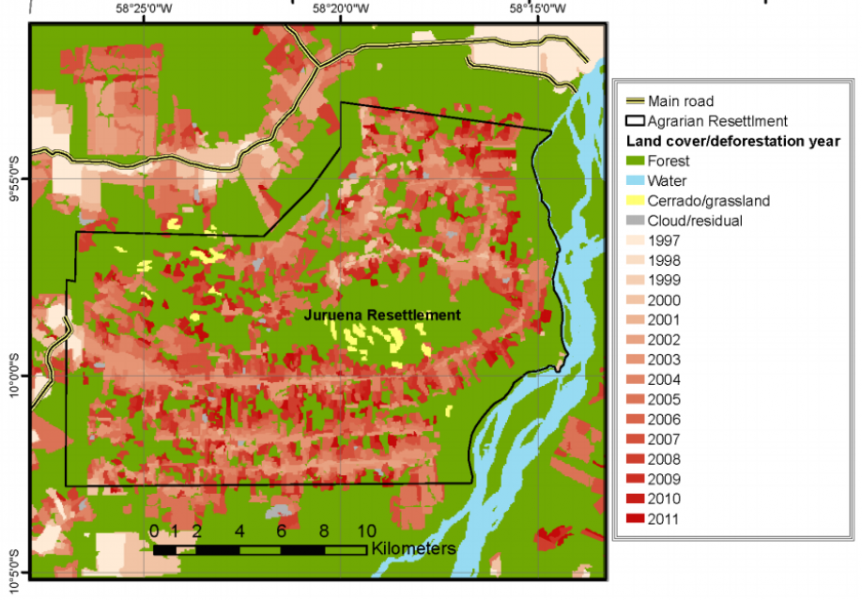 The  Juruena Settlement was created in 1997, and since then has led to major deforestation within its boundaries. Photo courtesy of Shneider and Peres, 2015.