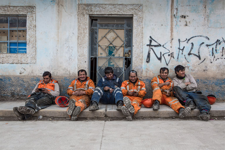 Miners in Corquijilca Pasco on lunch break. 2,000 work at this mine. It is co-owned by BuenaVentura with another mining company called El Brocal. Photo by Jason Houston