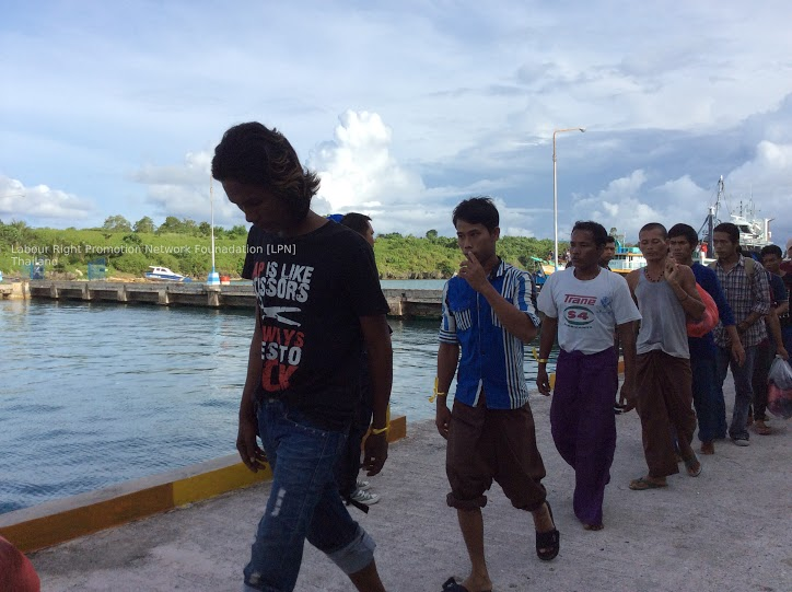 Former slaves on Thai-run fishing ships are rescued. Photo courtesy of Labour Rights Promotion Network