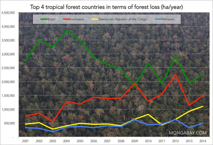 Data from Matt Hansen and colleagues presented via Global Forest Watch. Prepared by Mongabay.com.