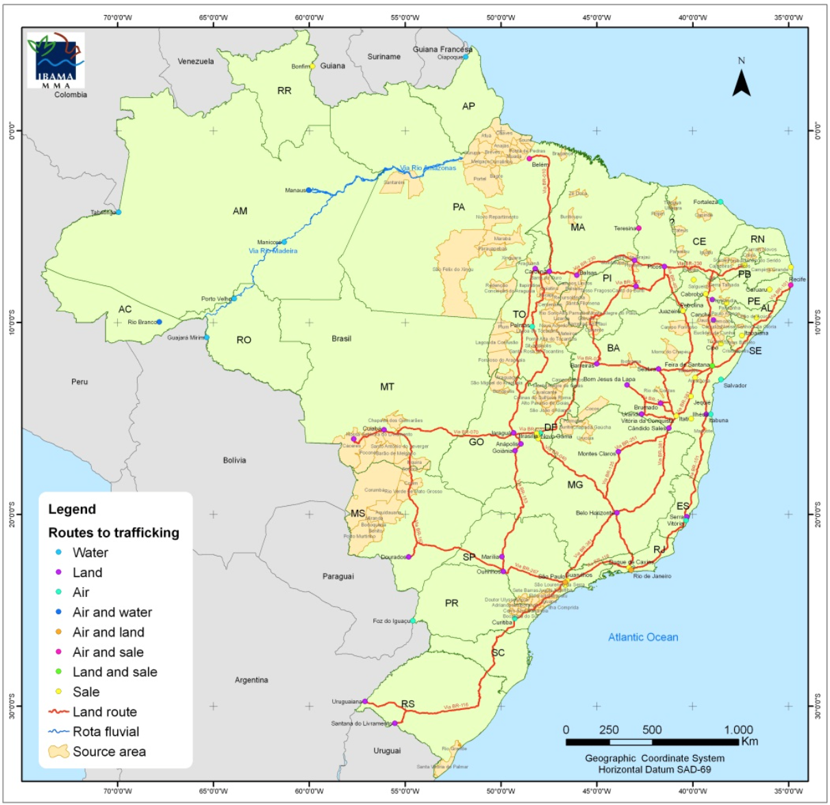 """Main routes for the wild animals trafficking in Brazil. From: Biodiversity Enrichment in a Diverse World"""" (published under creative commons (http://www.intechopen.com/books/biodiversity-enrichment-in-a-diverse-world/efforts-to-combat-wild-animals-trafficking-in-brazil; map in this chapter. P. 433: http://cdn.intechopen.com/pdfs-wm/38670.pdf)"""