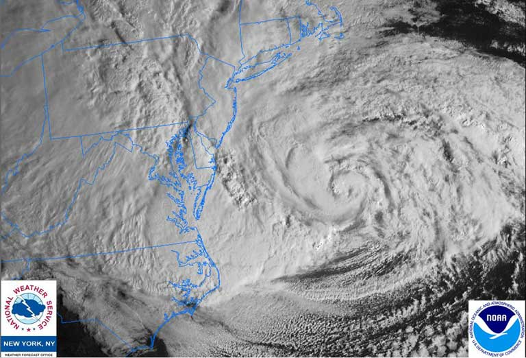 """Hurricane Sandy zeroes in on New Jersey and New York City, October 29, 2012. """"The rich should not believe too long that they will escape the impact of climate change. We all share the same planet. If we sink to the bottom of the ocean, we sink together, """" said Professor Jean-Pascal van Ypersele de Strihou, of the Catholic University of Louvain in Belgium and a former UN climate summit participant. Photo courtesy of NOAA and the National Weather Service."""
