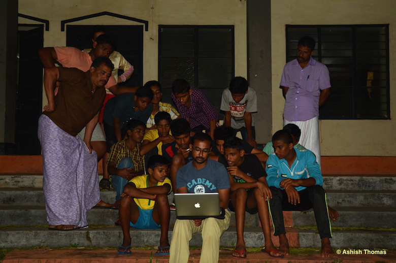 School children being taught how to identify amphibians at a nature camp in Periyar Tiger Reserve, Idukki district, Kerala. Photo courtesy of Systematics Lab.