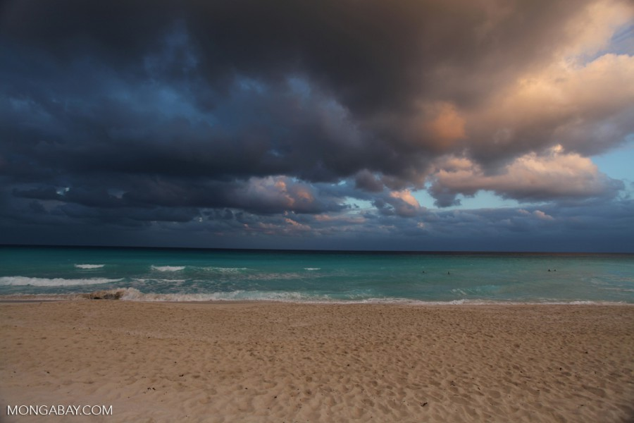 Dark clouds approach and waves break off the coast of Mexico. Photo by Rhett Butler.