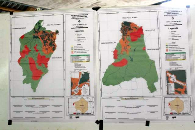 The Dayak maps in Laman Kubung dan Sekombulan villages, Central Kalimantan. Photo courtesy of Walhi