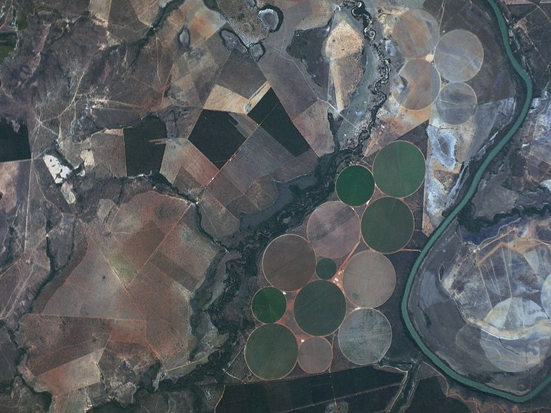 The Paracatu Rver winds through the Brazilian state of Minas Gerais, providing irrigation for large-scale agribusiness crops that include soybeans, corn, manioc, beans and rice. Photo courtesy of www.planet.com licensed under the Creative Commons Attribution-Share Alike 4.0 International license