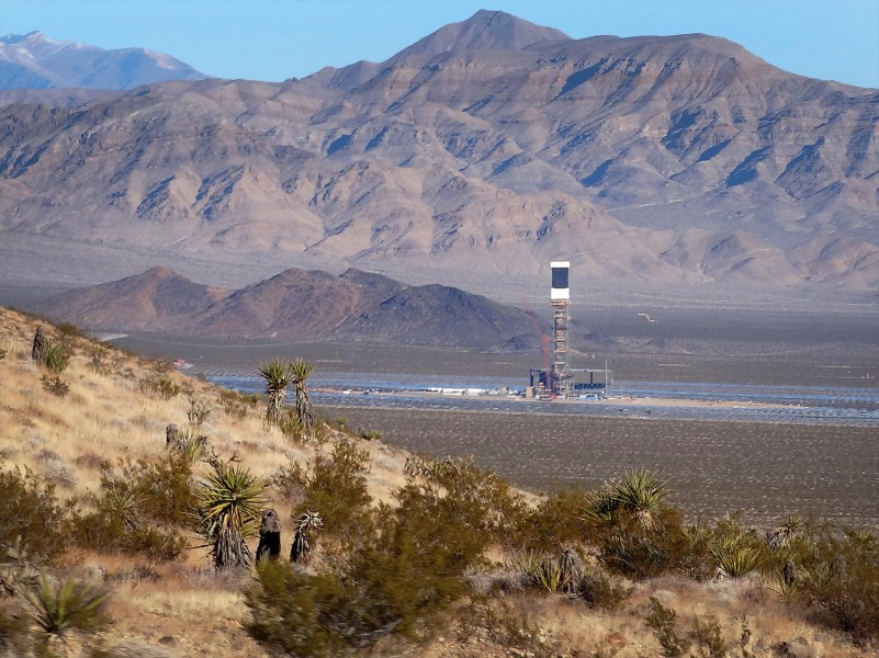 Ivanpah Solar Electric Generating System located in the California Mojave Desert, and has a gross capacity of 392 megawatts. Photo by Craig Dietrich, from Wikimedia Commons.