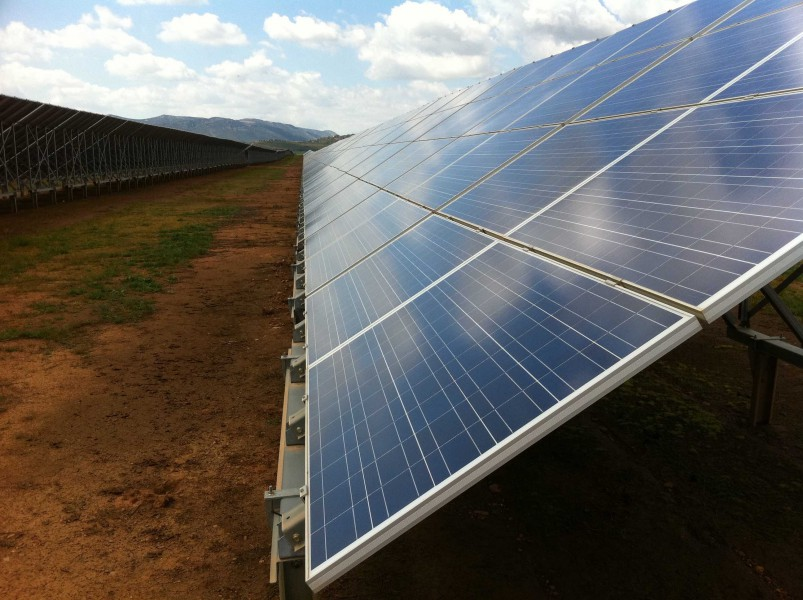 A typical solar generating installation. Photo by Rebecca Hernandez.