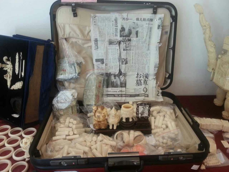 Confiscated ivory products. Photo courtesy of TRAFFIC.