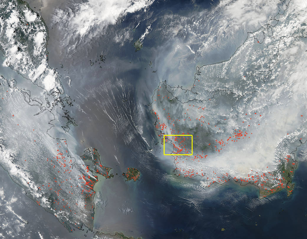 NASA's Aqua satellite collected this natural-color image with the Moderate Resolution Imaging Spectroradiometer, MODIS, instrument on September 22, 2015. Actively burning areas, detected by MODIS's thermal bands, are outlined in red. NASA image courtesy Jeff Schmaltz LANCE/EOSDIS MODIS Rapid Response Team, GSFC. Caption by Lynn Jenner