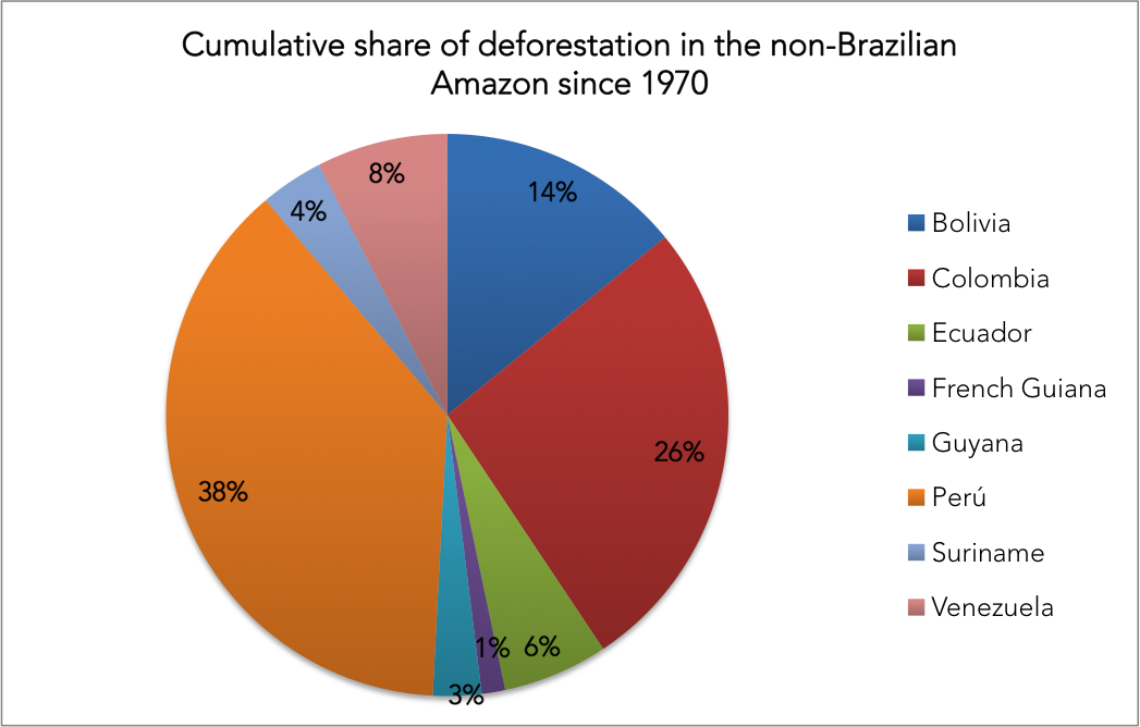 Pie chart showing share of Amazon forest loss outside Brazil since 1970