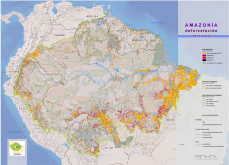 Map of historic deforestation in the Amazon rainforest since 1970