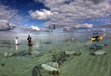 Free Ocean Enrichment Experiment on Heron Island. Photo by Dr David Kline of the SCRIPPS institute.