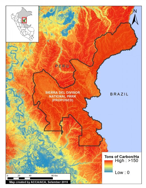 High-resolution carbon geography of Sierra del Divisor area. Data: Asner et al. 2014. Image courtesy of MAAP.